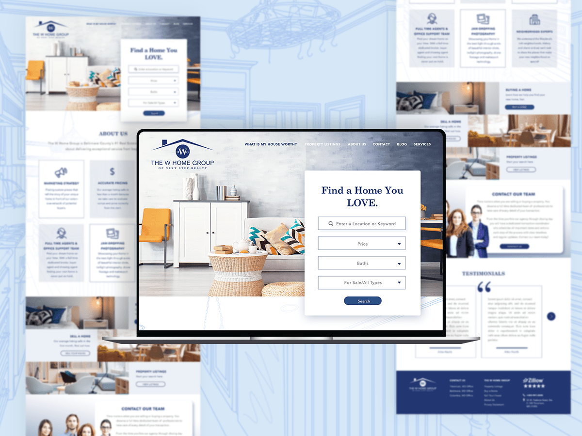 WHome Web Design Mockup