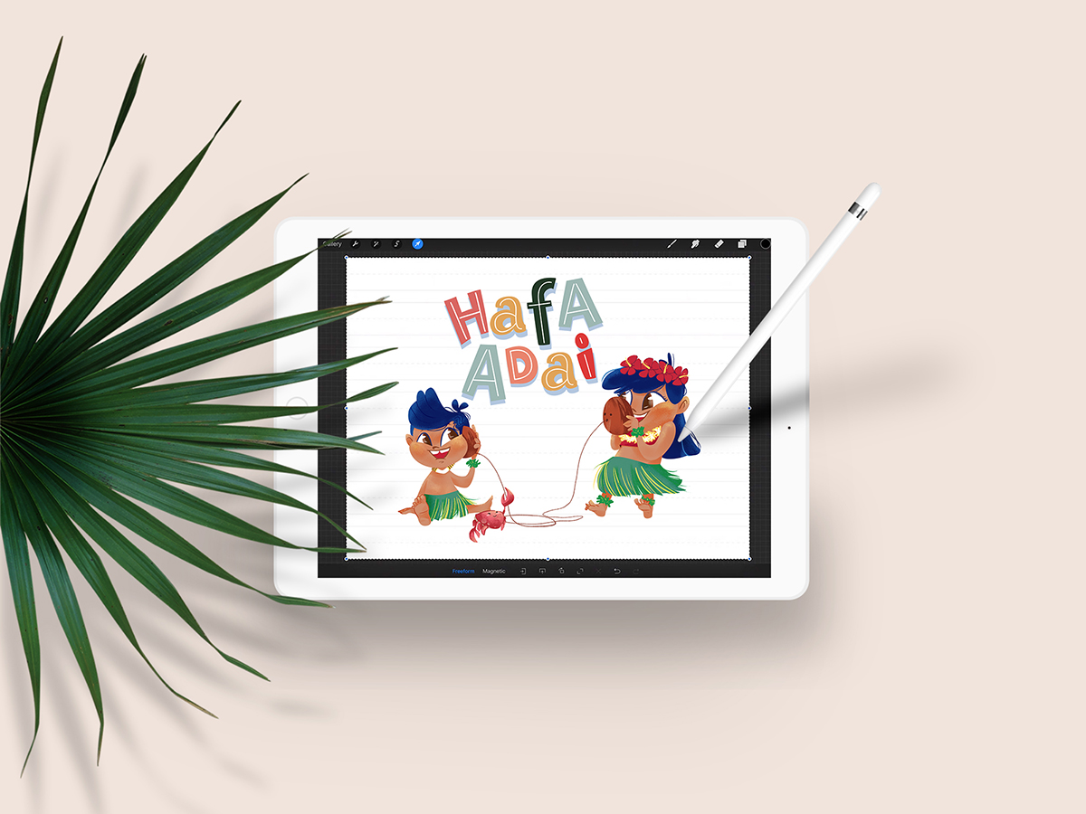 Hula Boy and Girl Illustration Ipad