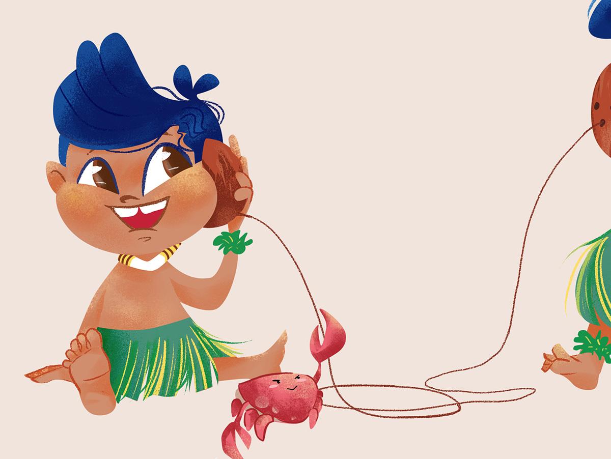 Hula Girl Illustration on Phone