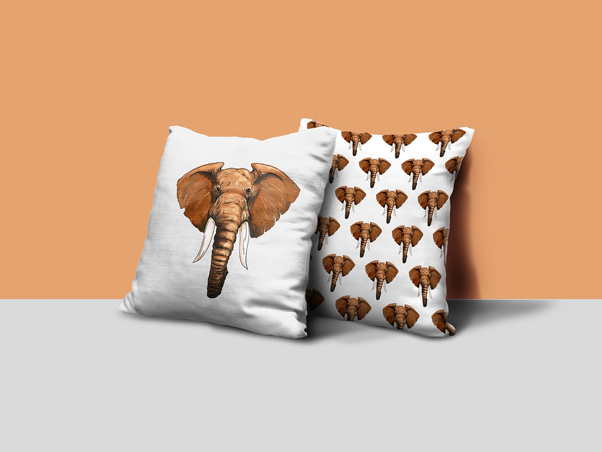 Humanimal Elephant Illustration Pillows