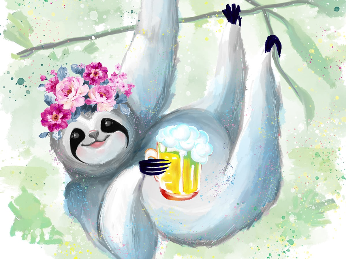 Humanimal Kingdom Girl Sloth Illustration Close Up