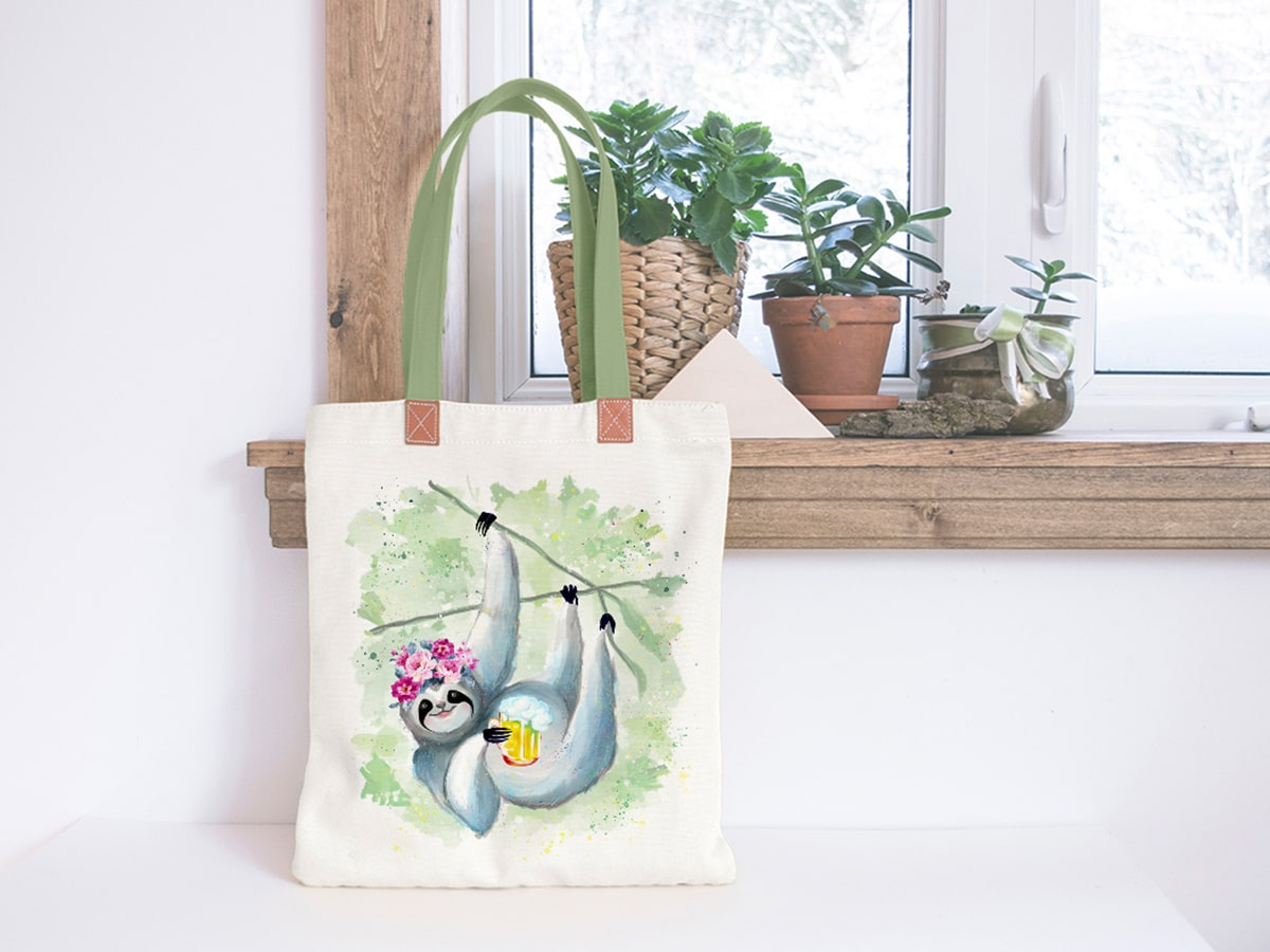 Humanimal Kingdom Girl Sloth Illustration on a Cotton Bag