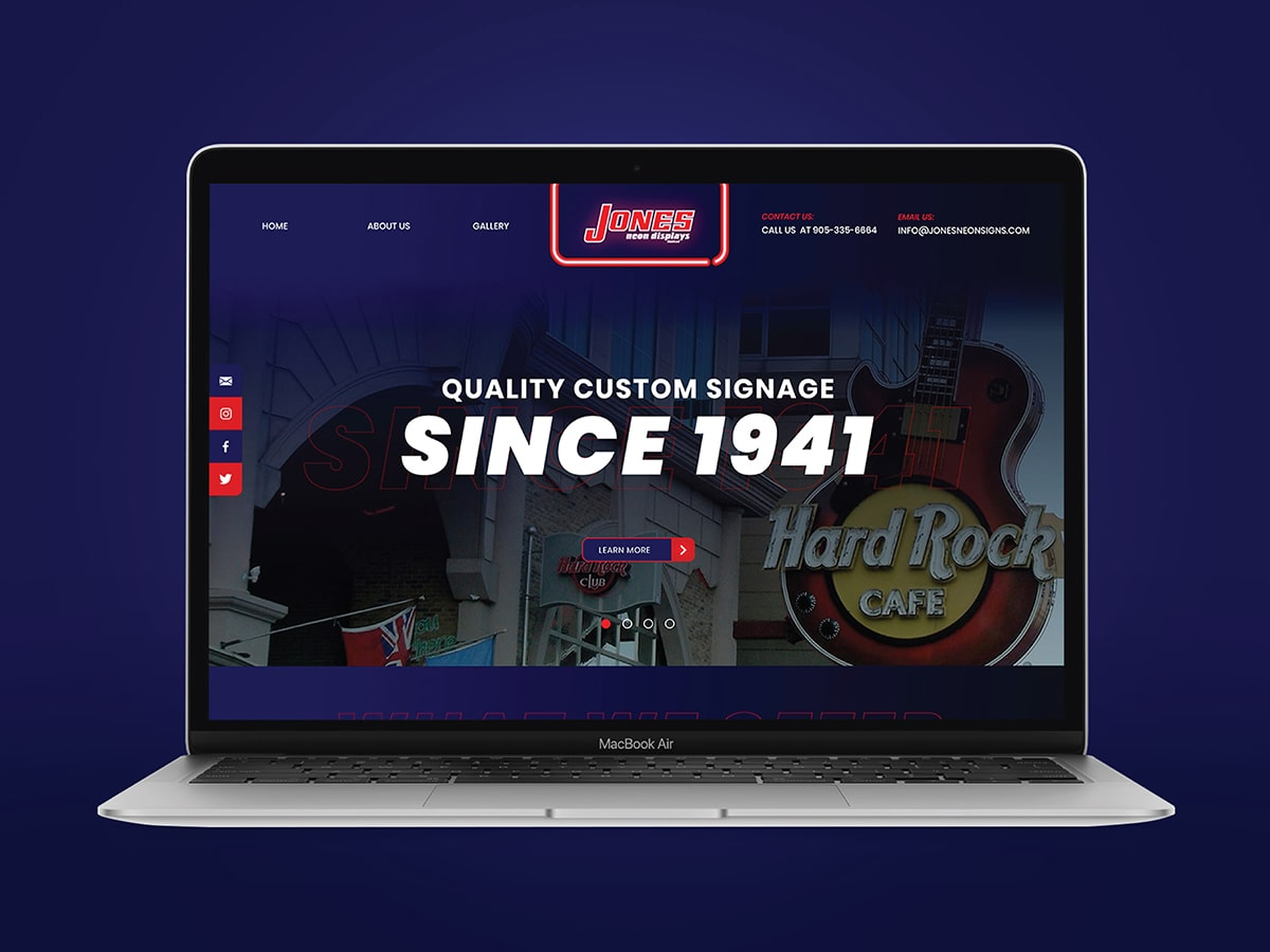 Jones Neon Displays Website Mockup