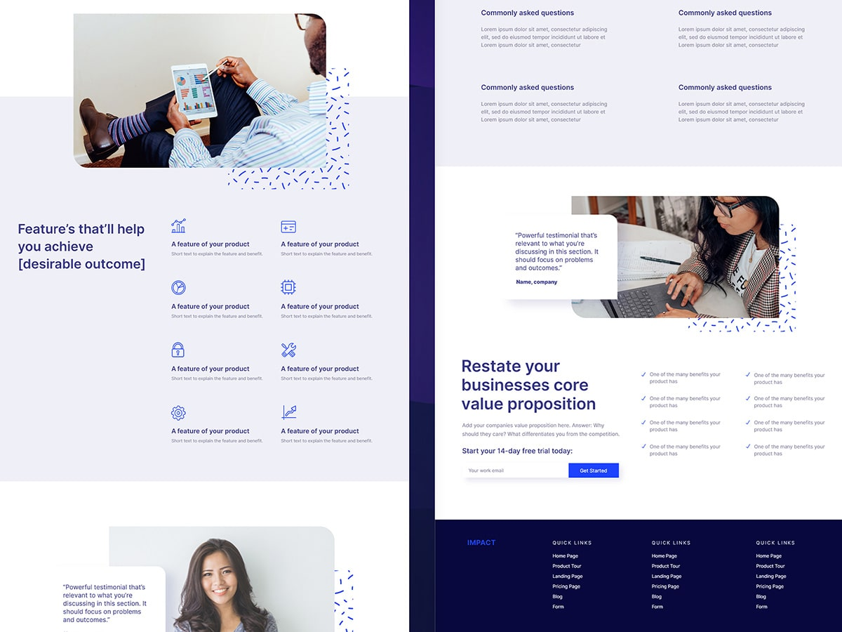 Precise Path website template and landing page mockup