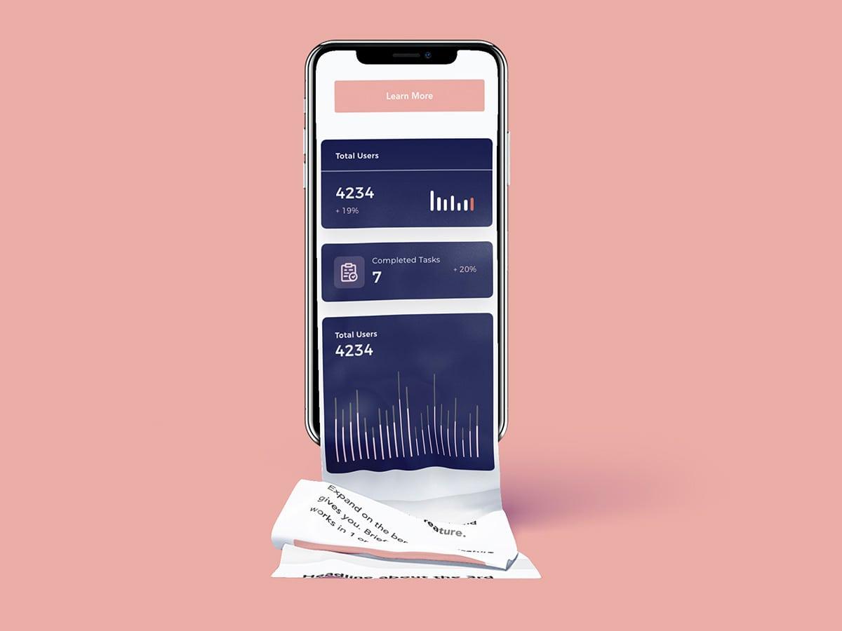 SaaS Website Template displayed on mobile phone