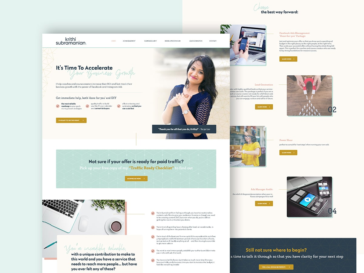Krithy Business Coach site design